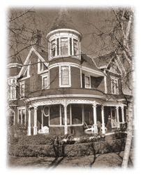 real estate photograph with sepia tint added and faded edges or vignette effect